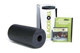 Blackroll Standard (Härtegrad mittel), schwarz, Selbstmassagerolle + interaktives Booklet -