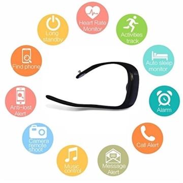 Fitness Activity Tracker - POLLIX - Pulsuhr mit Pulsmesser ohne Brust Gurt, Sportuhr und Smart Watch, Aktivitäts und Schlaf Tracker - Fitness Armband IPX7 Wasserdichte Uhr mit Schrittzähler und Kalorienverbrauch - SMS Anrufe WhatsApp Facebook Bluetooth Benachrichtigung für iPhone und Android - bis 3x Wochen Batterielaufzeit -