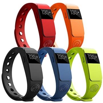NINETEC Smartfit F2HR Schwarz Fitness Tracker mit Pulsmesser Bluetooth 4.0 Sport Armband Schrittzähler Aktivitätsarmband Fitnessarmband Sportuhr mit Schlafanalyse Kalorienanalyse SMS Anrufe -
