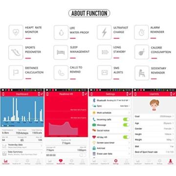 Schwarz Elektronische Armbanduhr Pulsmesser HRM Herzfrequenzmessung Schlaf Activity Tracker Schrittzähler Entfernungen Kalorienzähler SMS Call Reminder Sportuhr für Android iOS -
